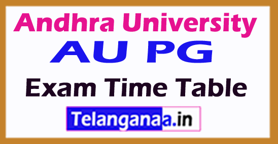 Andhra University AU PG 2nd / 4th Sem Exam Time Table