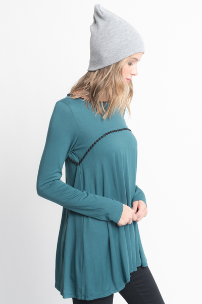Shop for Hunter green pom pom trim long sleeve jersey tunic top on caralase.com