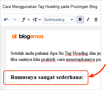 Cara Menggunakan Tag Heading pada Postingan Blog
