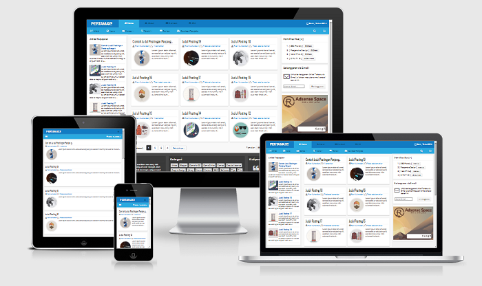 Pertamax Responsive HTML 5 Blogger Template Friend (Blue)