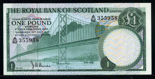 Royal Bank of Scotland banknotes one Pound Note Pound Scots