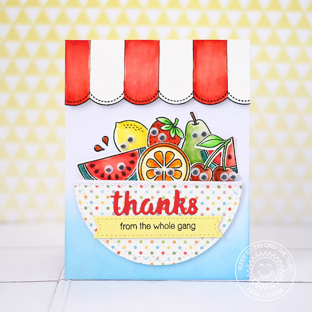 Sunny Studio Stamps: Fresh & Fruity Googly Eyed Fruit Bowl Thank You Card by Lexa Levana
