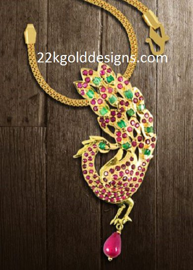 Ruby Emerald Peacock Pendant