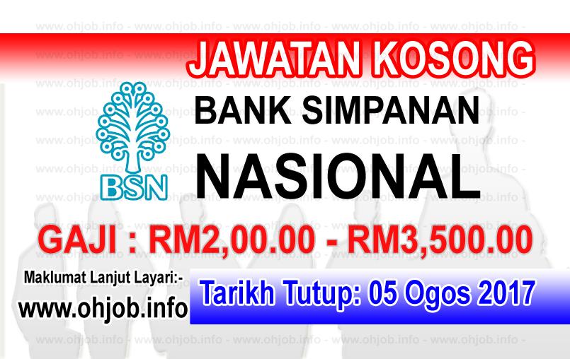 Jawatan Kerja Kosong Bank Simpanan Nasional - BSN log www.ohjob.info ogos 2017