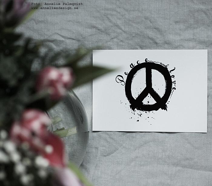 annelies design, webbutik, webshop, nätbutik, nettbutikk, nätbutiker, webbutiker, inredning, vykort, svartvit, svartvita, svart och vitt, peace, peacetecken, peacetecknet, postcard, kort,