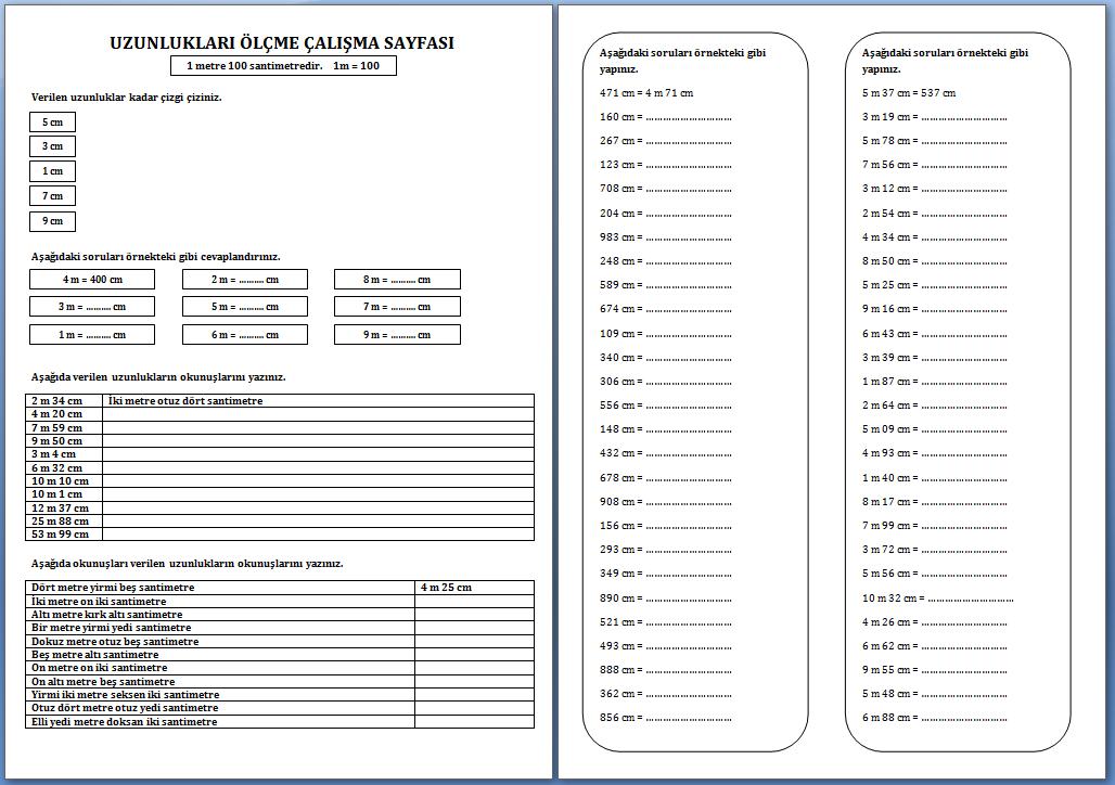 Uzunluklari Olcme Calisma Sayfasi 2 Sinif Etkinlikleri