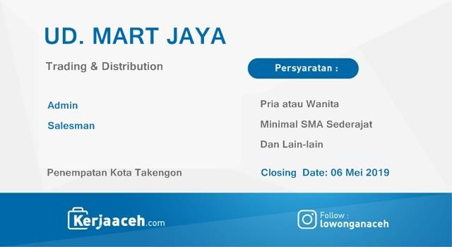 Lowongan Kerja Aceh Terbaru 2019 SMA   di  UD Mart Jaya Takengon