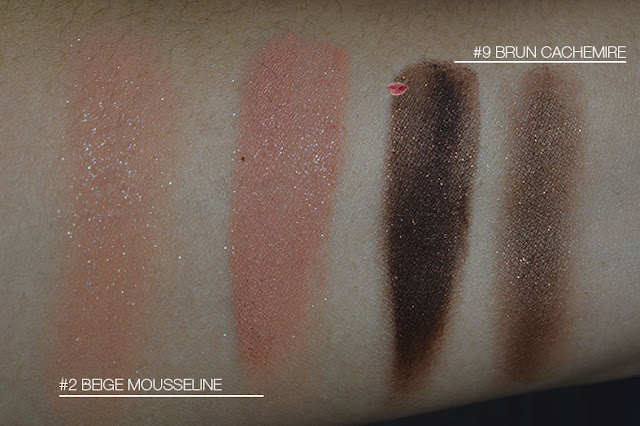 swatch Ombre Couture 2 Beige Mousseline, 9 Brun Cachemire, Givenchy, cream shadow