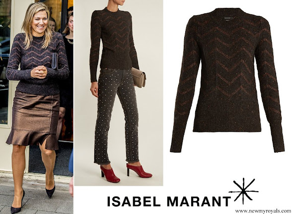 Queen Maxima wore ISABEL MARANT Elson crew-neck zigzag-embroidered sweater