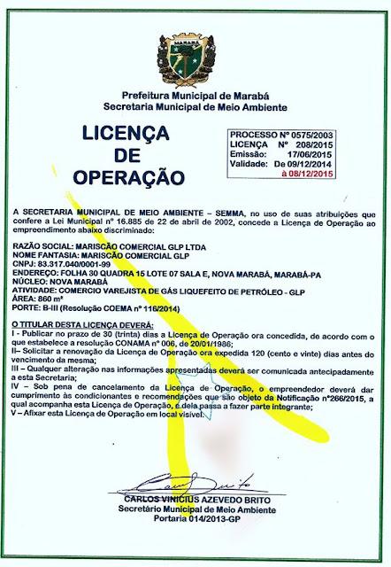 LICENÇA DE OPERAÇÃO - MARISCÃO COMERCIAL GLP LTDA
