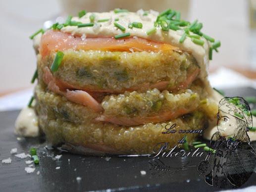 Milhojas de salmón y quinoa #singluten #Unlujo