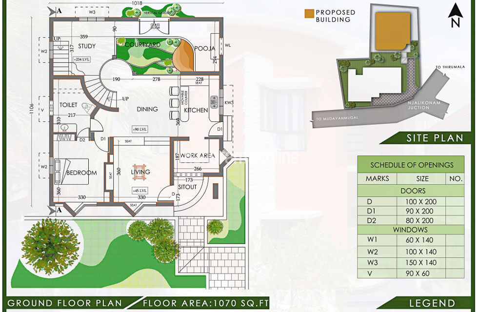 Eco friendly 3 bedroom low cost 2200sqft home with for Eco friendly floor plans