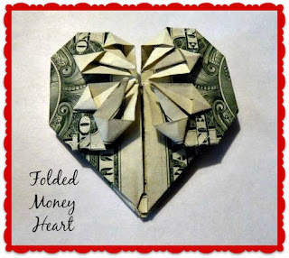Dollar bill Valentine heart