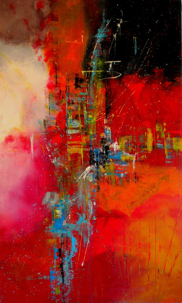 Daily Painters Abstract City Celebration - Large Contemporary Modern Painting