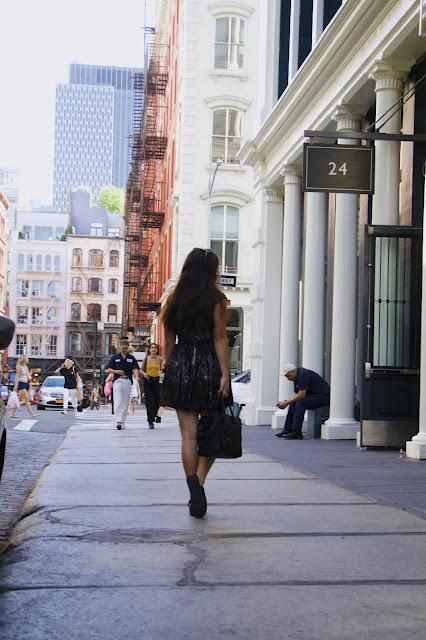 New York Fashion Blogger, Kelly Fountain wearing Celine in Soho, NYC for a streetstyle photoshoot