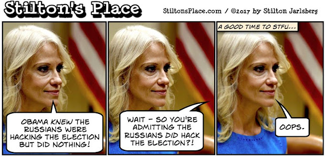 stilton's place, stilton, political, humor, conservative, cartoons, jokes, hope n' change, kellyanne conway, election, russian, hacking, obama, semantics