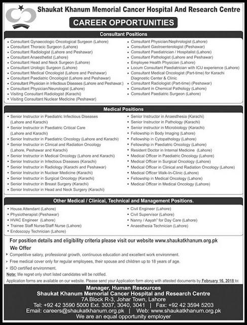 Jobs in Shaukat Khanum Memorial Cancer Hospital Jobs 2018