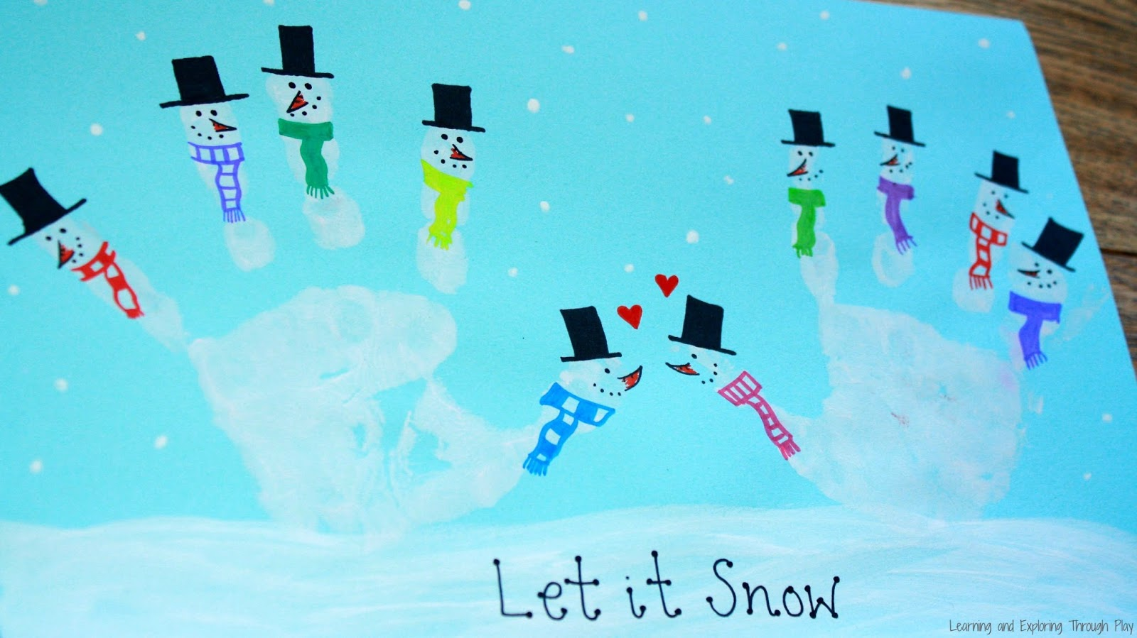 Learning And Exploring Through Play Snowman Hand Print