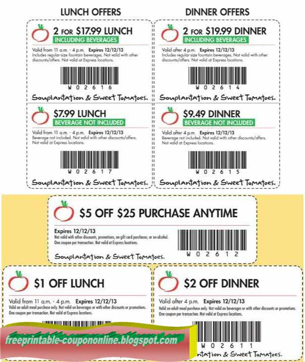 Today's best Coupons: Join Club Veg for Members-Only Discounts. 10 Souplantation Specials for December