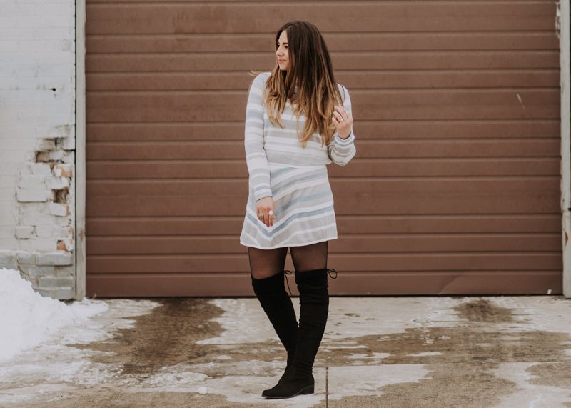 nordstrom outfit, free people outfit, over the knee boots