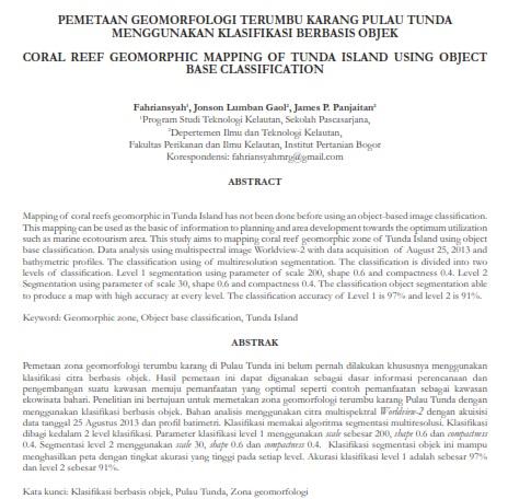Pemetaan Geomorfologi Terumbu Karang Pulau Tunda [PAPER]