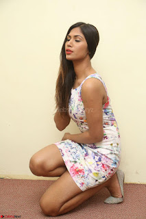 Nishi Ganda stunning cute in Flower Print short dress at Tick Tack Movie Press Meet March 2017 087.JPG