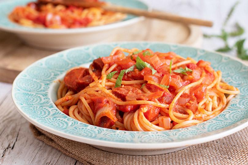 recette Spaghettis aux poivrons del piquillo