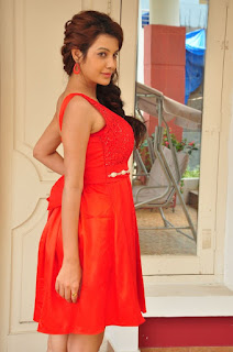 Actress Deeksha Panth Stills in Red Short Dress at Banthi Poola Janaki Press Meet  0131.jpg