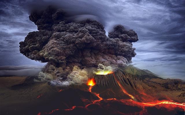 vulcano, fumo, cenere, lava, magma,