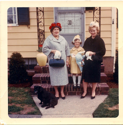 Happy Easter! Sophie (Karvoius) Dixon, Liz Traina, Mary (Dixon) Traina, and Jet, the dog. Roselle, NJ. Around 1965.