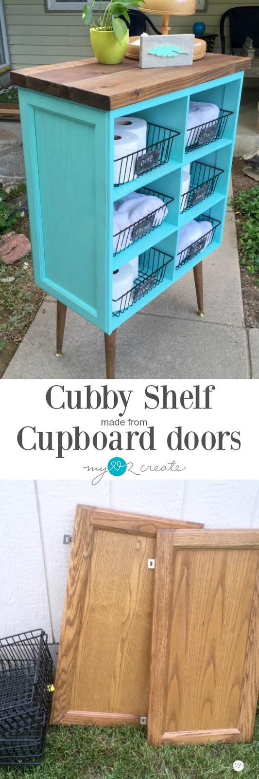 Repurposing cabinet doors to make a cubby shelf