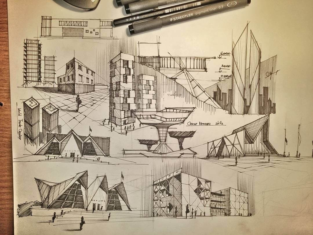04-Multiple-Modern-sketches-Ibragim-Mustanov-Traditional-and-Modern-Architecture-plus-Video-www-designstack-co
