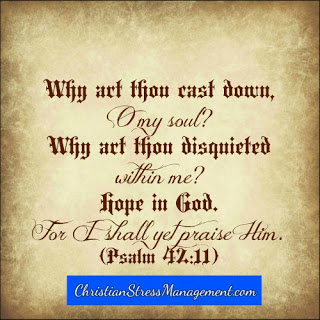 Why are you cast down O my soul? Why are you disquieted within me? Hope in God for I shall yet praise Him. (Psalm 42:11)