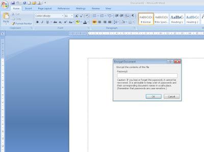 cara membuat password file ms word