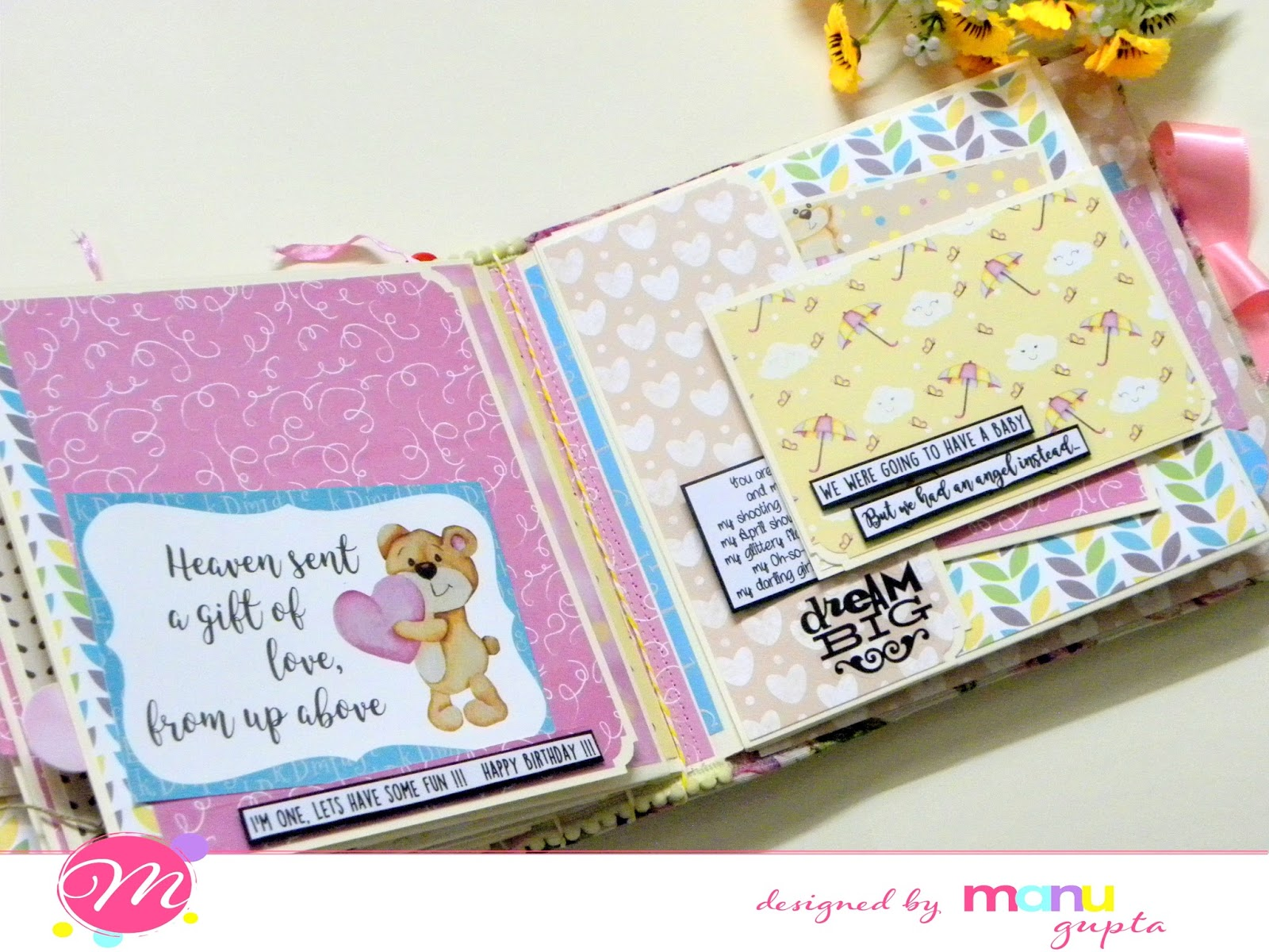 Mudra Craft Stamps Baby Album With Beary Hugs Paper Pack