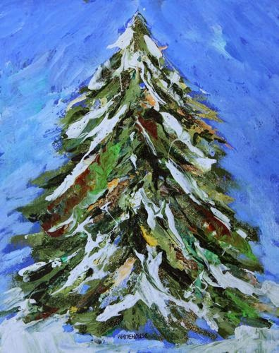 Amy Whitehouse Paintings: Snowy Christmas Tree ...