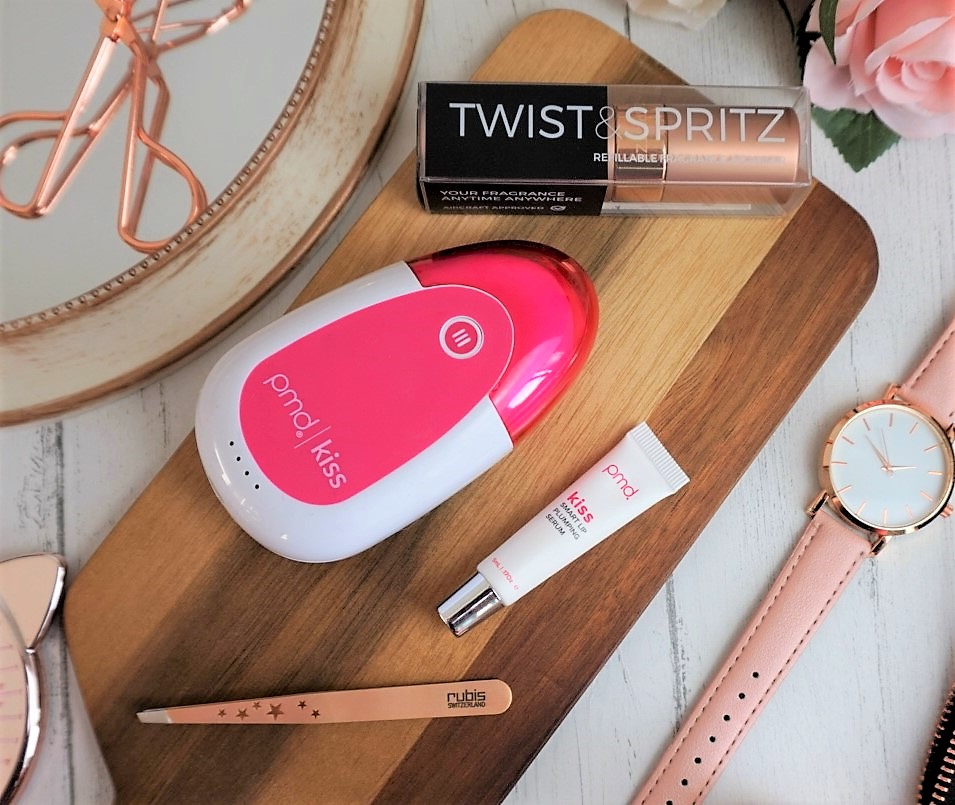 Twist Spritz PMD Kiss Lip Pumping System and Rose Gold Rubis Tweezers