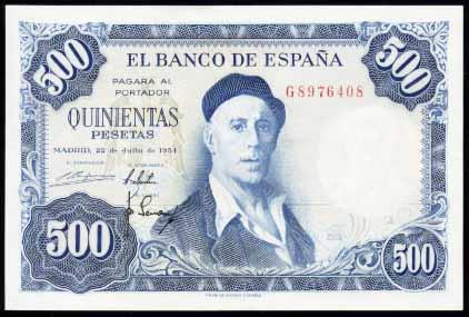 Billete de 500 pesetas (tirada de 1954)
