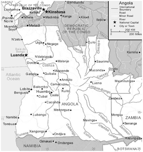 image: Black and white Angola Map