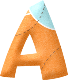 Alfabeto en Celeste y Naranja.