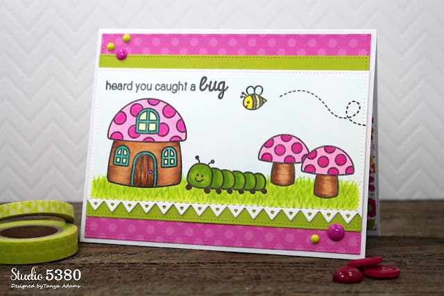 Sunny Studio: Backyard Bugs Heard You Caught A Bug Get Well Card by Tanya Adams.