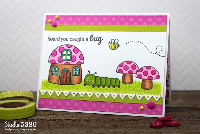 Sunny Studio: Backyard Bugs Heard You Caught A Bug Get Well Card by Tanya Adams.
