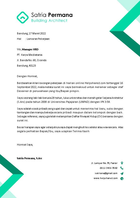 Contoh Surat Lamaran Kerja 12