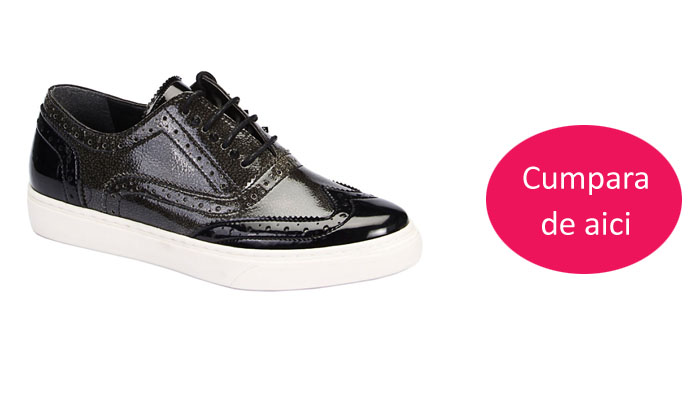 Pantofi casual dama piele lacuita negri, maro ieftini online de toamna
