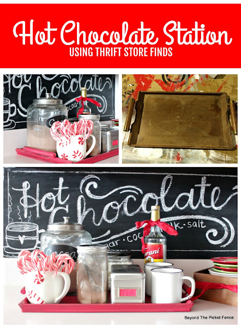 Hot Chocolate Station created with Thrift Store Finds