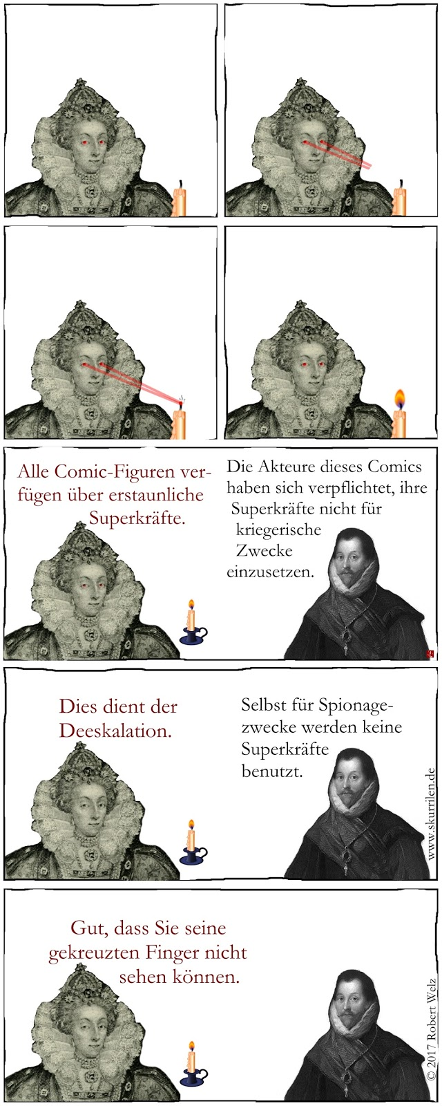 Superhelden Parodie Superkräfte Humor Komik Satire Comic Queen Elizabeth I. Pirat