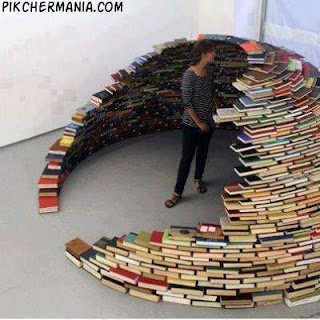 igloo made of books
