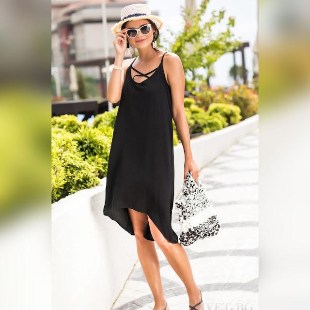 Ασύμμετρο  κοντό μαύρο φόρεμα VISENTA