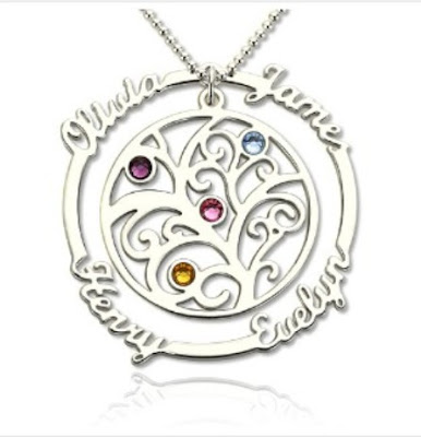 Attractive Silver Birthstone Family Tree Necklace with Names for Mothers - Price: $ 54.99