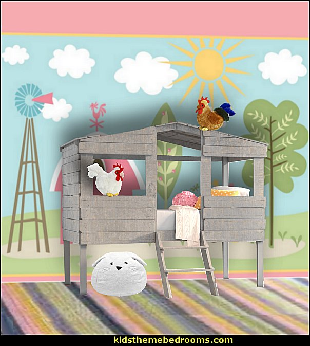 farm theme bed loft bed girls room  Farm theme bedroom decorating ideas - horse theme bedroom decorating ideas - girls horse theme bedrooms - farm animals decor - Country themed bedroom - John Deere decor - John Deere bed - John Deere wall decals - Barnyard Bedroom Theme - Farm themed wall decals - farm animals kids wall decor - tractor beds